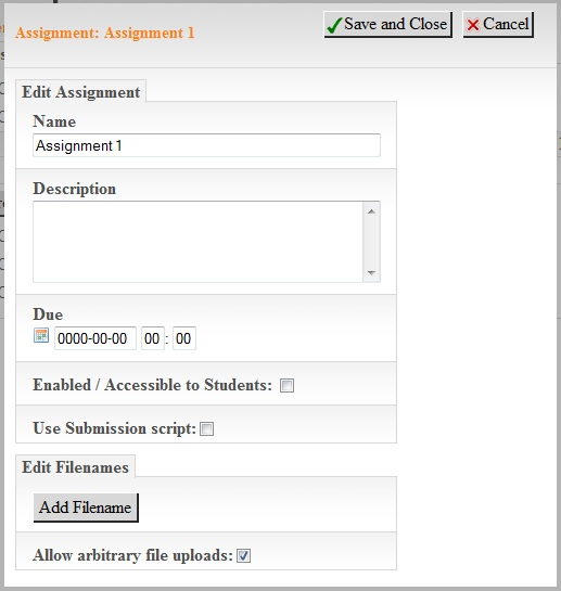 CS DropBox Assignment Edit Page